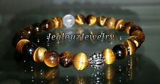 Sterling Silver Lucky Dragon Mens Brown Tiger Eye Yoga Gemstone Stretch Bracelet