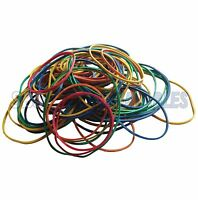 Elastic Rubber Bands - 50g Bag - Assorted Sizes & Colours - Strong 1.5mm Elastic