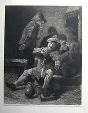 GEIGENSPIELER, Geige, Wirtshaus. Originale Radierung nach BROUWER von 1884