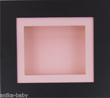 Petit Noir Boîte Profonde Cadre d'affichage Médailles 3D 2D Objets Art Baby Girl