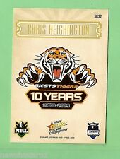 2009 SELECT NRL CHAMPIONS  RUGBY LEAGUE  CARD SK32  CHRIS HEIGHINGTON, TIGERS
