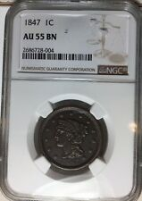 1847-P Braided Hair Large Cent NGC AU 55 About Uncirculated 1c Large Penny
