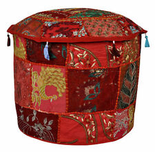 "32"" Indian Ottoman Pouffe Cover Embroidered Patchwork Cotton Footstool Beanbag"