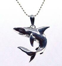 "Stellar 925 Sterling Silver Designer Brand EFFY Shark Pendant Necklace 20"" (S01)"