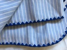 Baby Swaddle Receiving Blanket Blue White Stripes Knit Edges 42x86 100% Cotton
