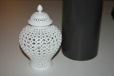 New in Box Two's Company Carthage Pierced Covered Porcelain Lantern jar vase
