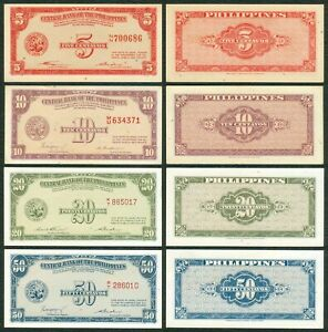 5, 10, 20, 50 Centavos English Series Central Bank of the Philippines Banknote