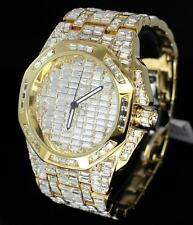 Mens Luxury Swiss Movt Gold Plated Simulated Diamond Baguettes Iced Out Watch