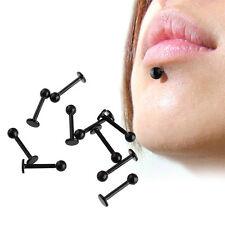 10pcs Lot 16G Black Stainless Steel Labret Lip Ring Ball Stud Chin Piercing Bars