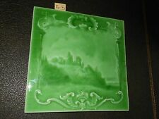 One Antique Arts and craft tile Art Nouveau Sherwin patent castle  6x6  5-5
