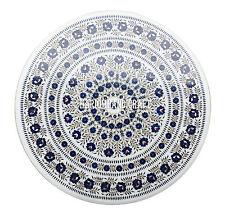 "24"" Marble Round Table Top Lapis Lazuli Inlaid Arts Decorative Furniture H2711"