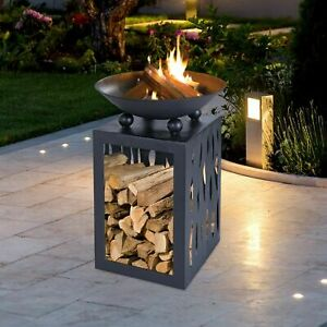 Black Outdoor Cast Iron Fire Place Pit Garden Steel Bowl Square Wood Log Storage