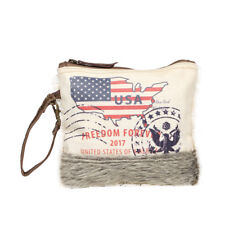 USA Freedom Forever Canvas + Leather Wristlet Bag with Hair-on Leather Strip