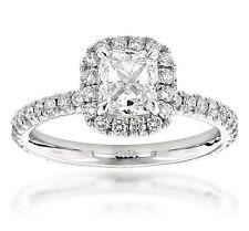 GIA Certified Cushion Cut Diamond Engagement Ring 14k White Gold  0.95 CTW