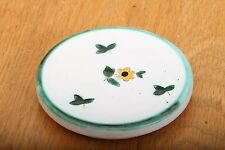 Vintage Painted Ceramic Coaster Flower and Leaves
