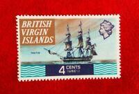 1970 QE11 BRITISH VIRGIN ISLANDS 4c MINT HINGED POSTAGE STAMP