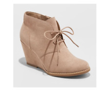 Women's Bessie Microsuede Wedge Fashion Bootie - Universal Thread™ Taupe Size 11
