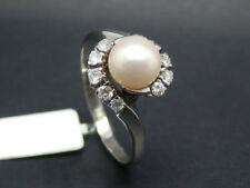 ANILLO CON aprox. 0,45ct Diamantes + 2 Akoya perlas de cultivo 585/14k