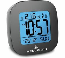 Radio Controlled LCD Backlit Beep Alarm Clock Snooze Calendar Temperature Travel