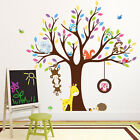 US Jungle Animal Owls Monkey Tree Wall Stickers Nursery Decor for Kids Baby Room