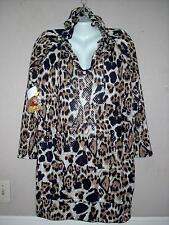 APPLE BOTTOMS WOMEN'S PLUS SIZE ANIMAL PRINT LONG SLEEVE HOODIE DRESS Sz 1X NWT