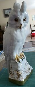 """RARE LARGE 12 1/4"""" LORENZ HUTSCHENREUTHER FRITZ KLEE GOLD ACCENTED OWL"""