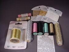 New Old Stock 12 Spools/cards Metallic Thread from Kreinik, Dmc, Twilleys, other