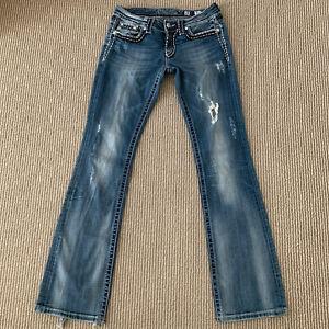 Miss Me Womens Boot Cut Stretch Blue Denim Jeans Size 28 Actual 28x32