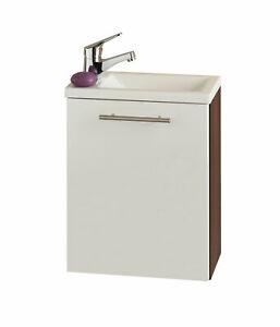 Gäste WC Waschbecken mit Unterschrank Waschtisch Handwaschplatz 40 weiss walnuss