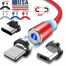 Magnetic Fast Charger Cable 1/2/3M Lead For Android Samsung Type C Micro USB IOS