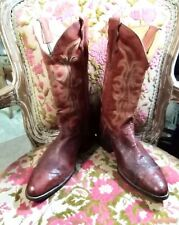 Coyote Joe Unisex Smooth Ostrich Quill & Leather Wingtip Cowboy Boots 8M/10W