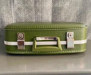 "Vintage Avocado Green Suitcase 16"" x 12"" x 5.75"" / Train Case Hard Shell"