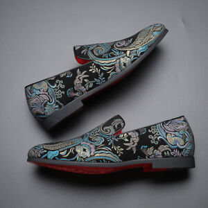 Men's Embroidered Printed Flat Shoes One Pedal Pointed Toe Blue Black Oversize