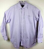 Robert Talbott Men 16.5 35 Purple Tattersall Button Long Sleeve Dress Shirt EUC