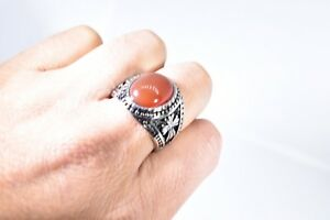 Vintage Stainless Steel Genuine Carnelian Size 13 Men's Cross Ring