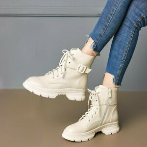 Womens New Fashion Leather Lace Up Zipper Ankle Boots Autumn Winter Casual Boots