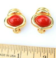 CLIP ON EARRINGS gold tone metal, bright red cabochon