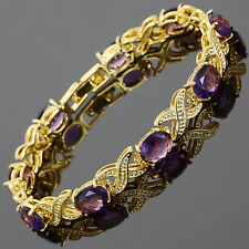 Oval Purple Amethyst Yellow Gold Plated Tennis Bracelet Fashion Jewelry