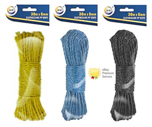 30m ClothesLine PP Washing Line Rope 3 Colours Black Blue Yellow