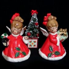 Vintage Josef Originals Angel Girl Bells w lantern, wreath, & bottle brush tree