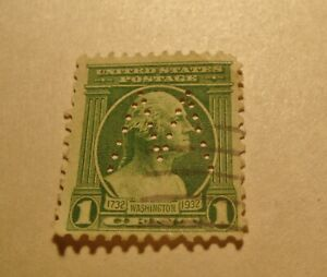 VERY RARE 1 Cent George Washington Green Stamp (Looking Right) M Perfin  mark.