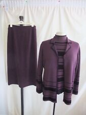 Ladies Outfit Country Casuals size M, Jacket, Top & Skirt, purple wool knit 1047