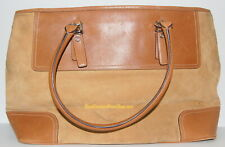Coach Large Tote Weekender Purse,Suede/Leather N* D 04S-5132 VINTAGE RARE