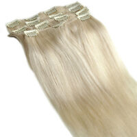 "New 16"" 70g 7PCS Platinum Blonde Color CLIP IN REMY REAL HUMAN HAIR EXTENSIONS"