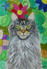 Cat Maine coon cat flowers original watercolor painting