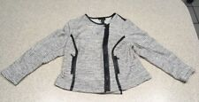 NWT Lane Bryant Size 18 Black And White Long Sleeve Sweater Offset Zipper