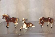 Vtg 3pc Set Bone China Brown Chestnut Blaze Equestrian Horse Figurine Miniature