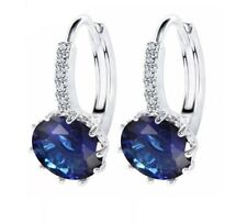 18K PLATINUM PLATED HOOP EARRINGS MADE WITH ROUND BLUE SWAROVSKI CRYSTALS PP1