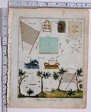 1779 Antico britannico sportivo stampa ~ Bird RETI & trappole buckeld drawnet sul petto