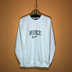 Nike 90s Vintage Swoosh Spellout Embroidered Crewneck White Sweatshirt